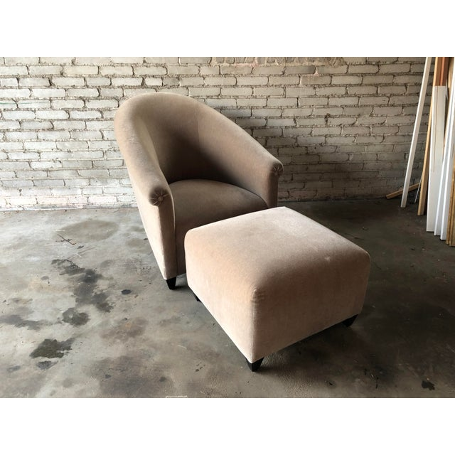 Minotti Minotti Mohair Lounge Chair and Ottoman For Sale - Image 4 of 12