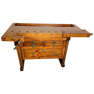 Antique Workbench With Three Drawers For Sale