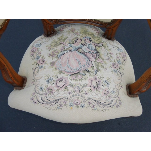 French Provincial Tapestry Ornate Carved Arm Chair For Sale - Image 7 of 10