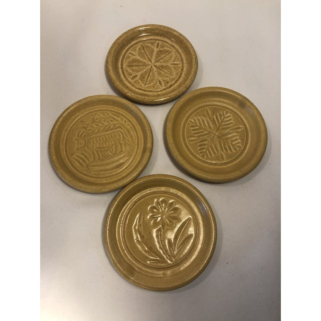 Pigeon Forge Pottery Yellow Coasters-Ashtrays Old Buttermold - Set of 4 For Sale - Image 13 of 13