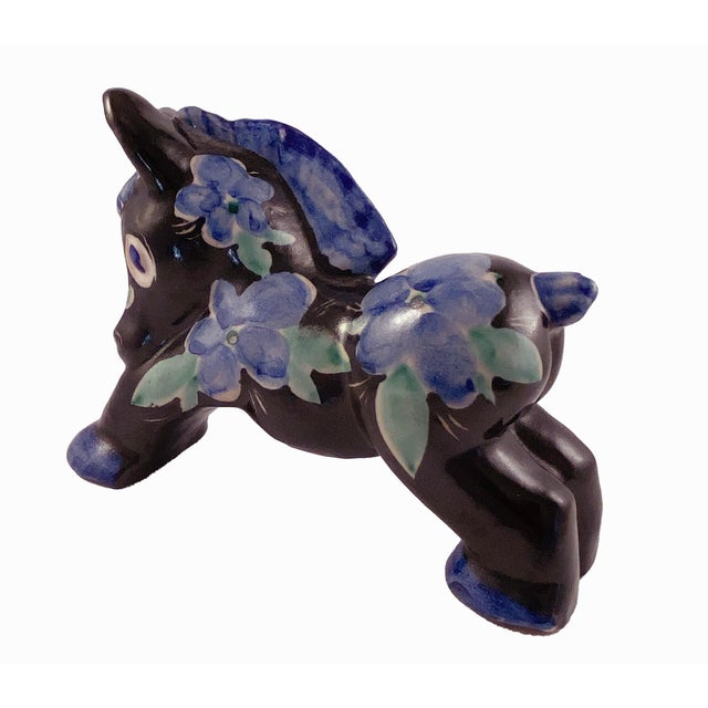 Late 20th Century Studio Art Pottery Donkey Blue Floral on Black For Sale - Image 5 of 8