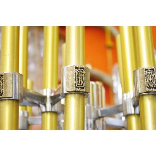 Gaetano Sciolari Brass and Chrome Tubes Chandelier by Sciolari For Sale - Image 4 of 7