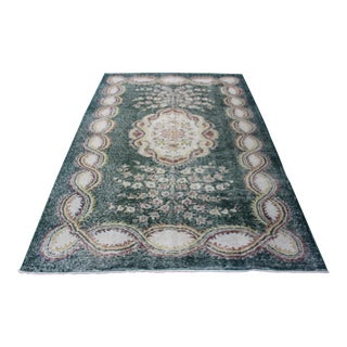1980s Vintage Turkish Overdyed Rug - 6′3″ × 9′3″ For Sale