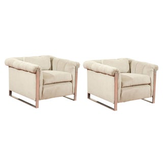 Striking Pair of Channeled Cube Lounge Chairs For Sale