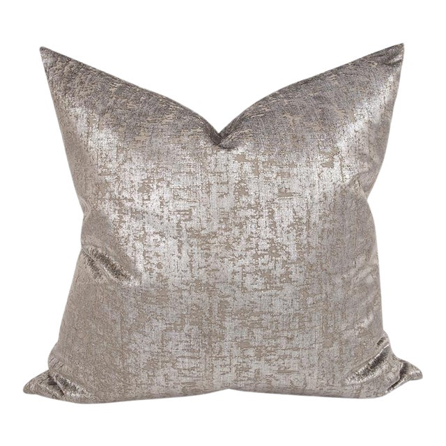 """Kenneth Ludwig Chicago Mousse Pewter 24"""" Square Pillow For Sale"""
