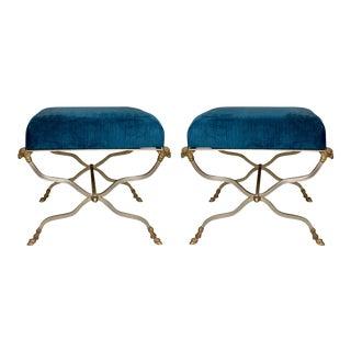 Pair of Maison Jansen Style Steel & Brass Ottomans For Sale