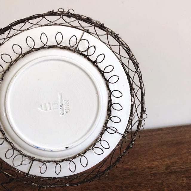 Metal Antique Majolica Plate in Wire Bowl For Sale - Image 7 of 8