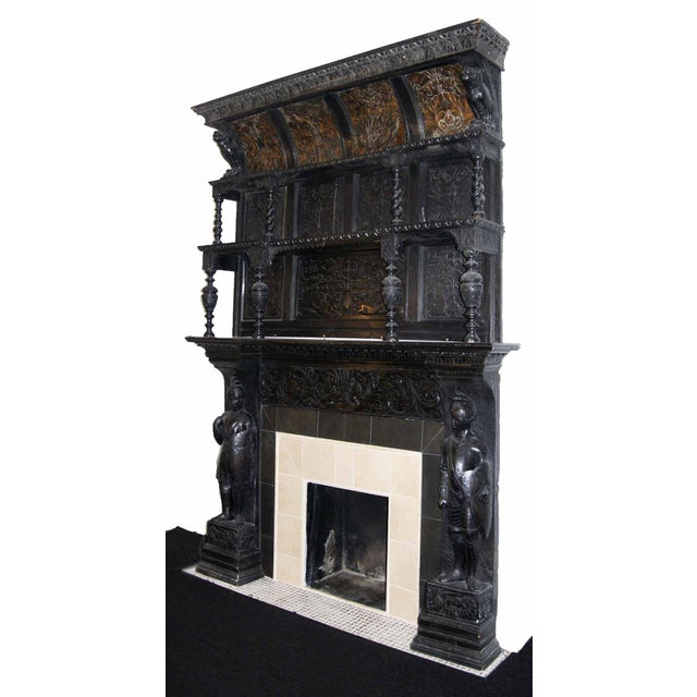Late 19th Century German Renaissance Style Carved Chestnut Mantel For Sale - Image 10 of 11