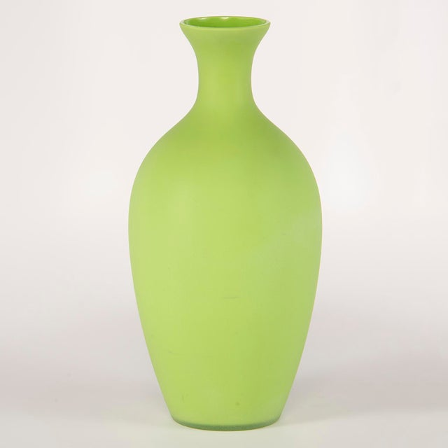 Glass Tall Mid Century Cenedese Murano Glass Green Vase For Sale - Image 7 of 8