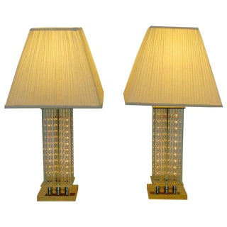 Mid-Century Modern Sciolari Brass & Glass Rod Table Lamps - A Pair For Sale