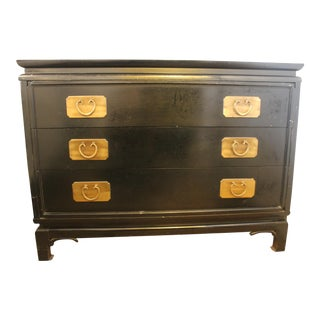 20th Century Asian Kent Coffey 3 Drawer Black Bachelors Chest For Sale