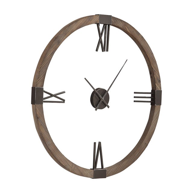 """Great looking rough hewn Fir creates the 40"""" circumference of this cool clock. The Roman numerals and other accents are..."""