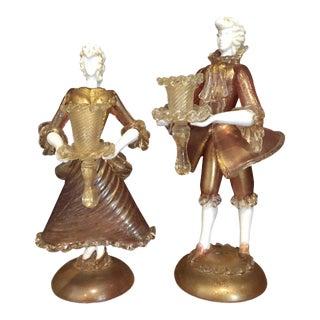 Pair of Antique Venetian Glass Figural Candlesticks