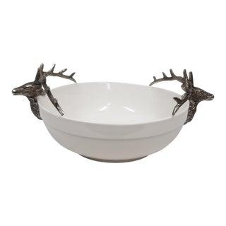 White Bowl With Deer Antler Handles For Sale