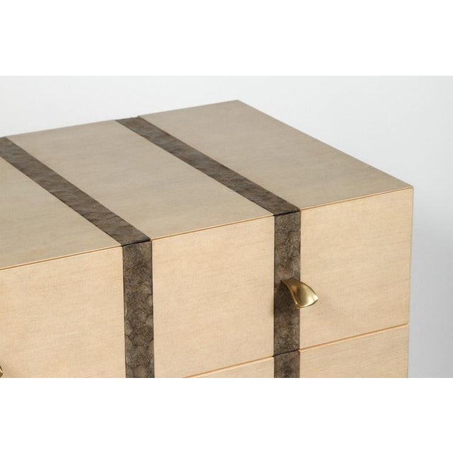 2010s Paul Marra Three-Drawer Banded Chest in Bleached Douglas Fir and Inset Iron Band For Sale - Image 5 of 10