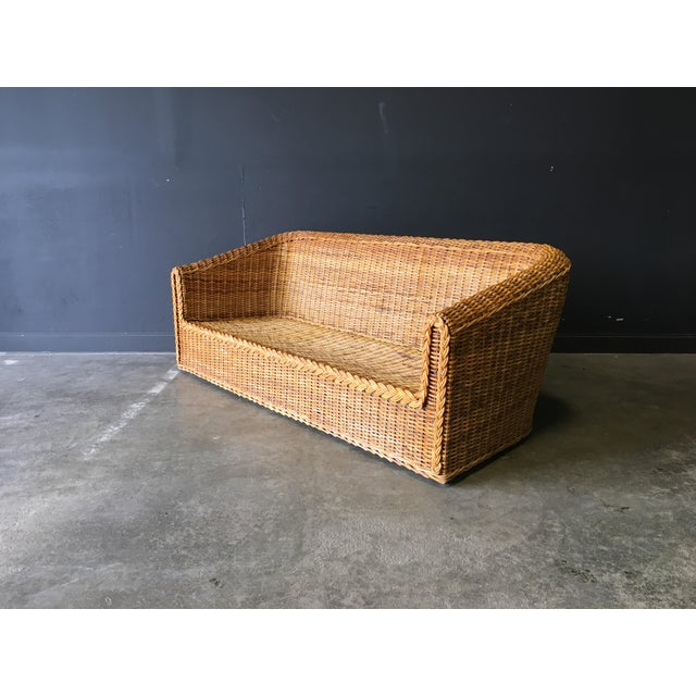 Asian Vintage Mid-Century Modern Wicker Sofa For Sale - Image 3 of 12