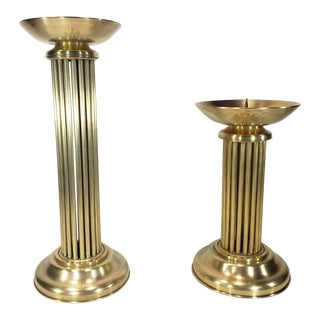 Art Deco Brass Candlesticks Style of Karl Springer - a Pair For Sale