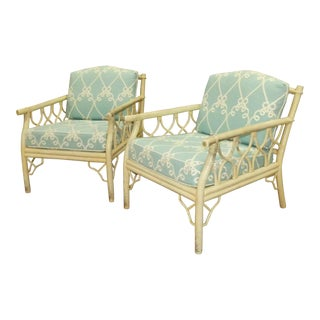 Vintage Ficks Reed Rattan Lounge Chairs- a Pair For Sale