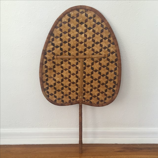Vintage Bamboo Woven Reed Fan - Image 2 of 8