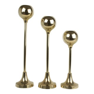 Mid-Century Modern Brass Globe Candlestick Holders - Set of 3 For Sale
