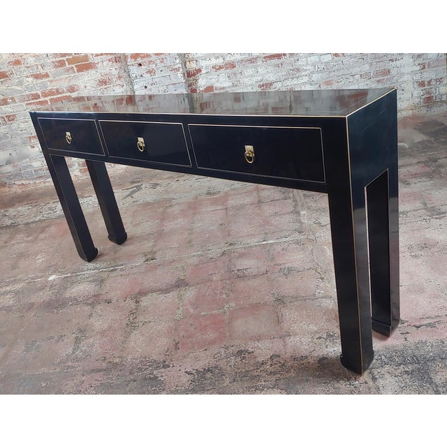 1980s Fine Black Lacquer Console Table With 3 Drawers For Sale - Image 5 of 10
