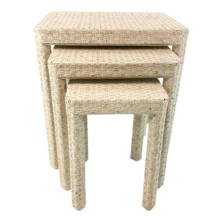 Made Goods Transitional White Washed Rattan. Delphine Nesting Tables Set of Three For Sale