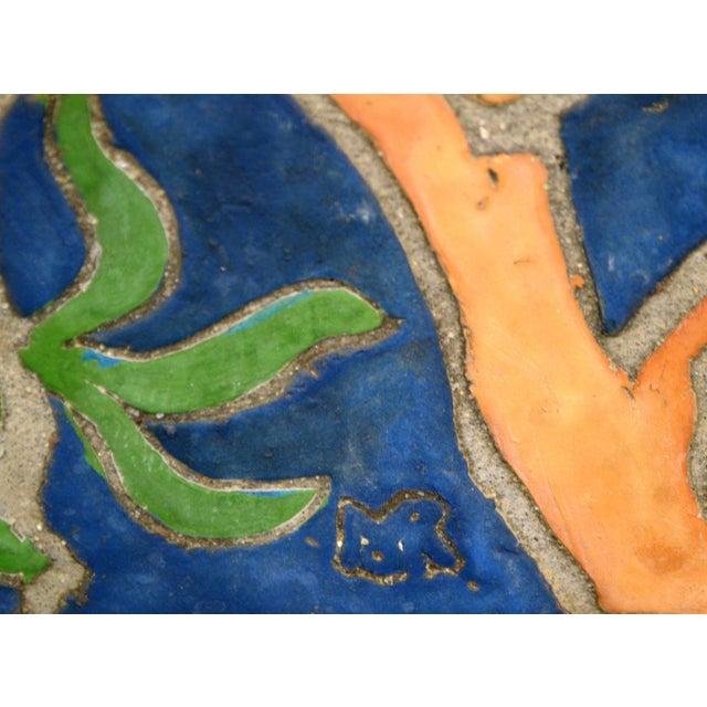 """1960s Vintage Henry Mercer Moravian Tile Works Red Bird on Branch """"Silva Vocat"""" Plaque For Sale - Image 11 of 12"""