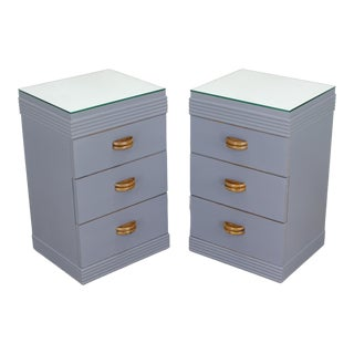 Pair of Mid Century Nightstands, Pair of Gray Nightstands, Mirror Top Nightstands, Shabby Chic Nightstands For Sale