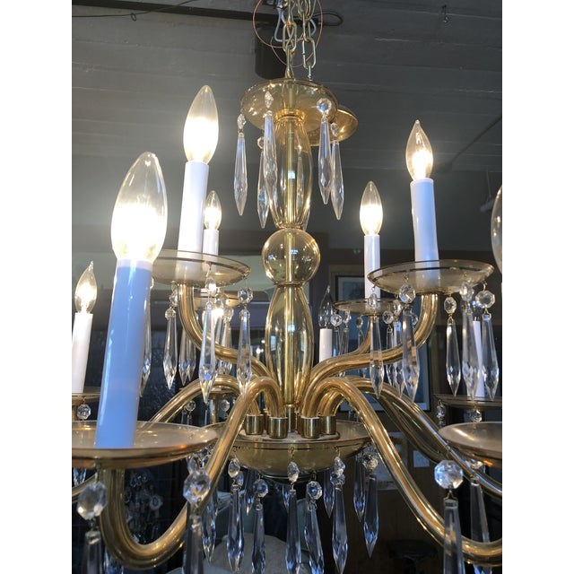 1950s Mid-Century Modern Amber Murano Glass Two Tier 12 Light Chandelier For Sale In Minneapolis - Image 6 of 13