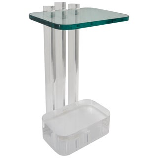 Lucite and Glass Side Table by Les Prismatiques For Sale