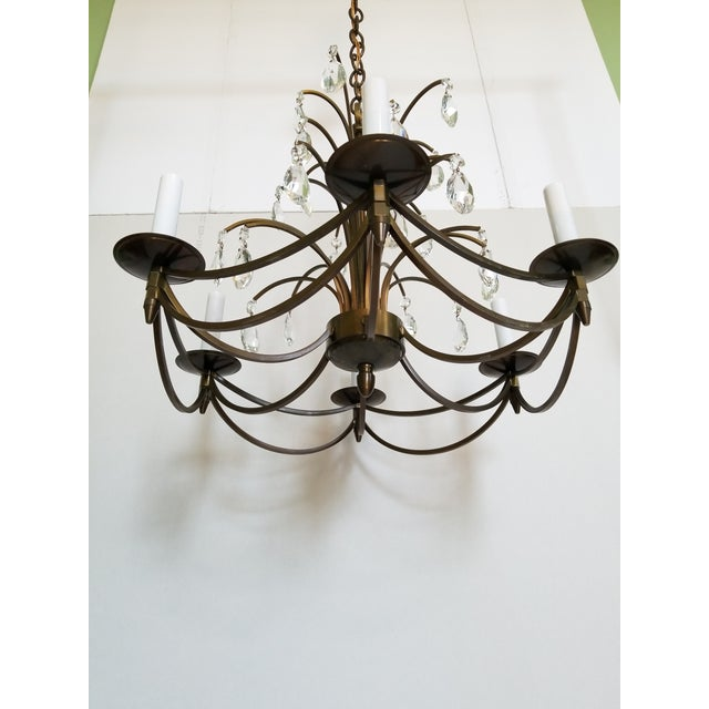 Mid-Century Modern Mid-Century Modern Crystal Swedish Chandelier For Sale - Image 3 of 13