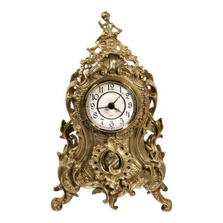 Late 20th Century Vintage Brass Baroque Mantel Clock For Sale