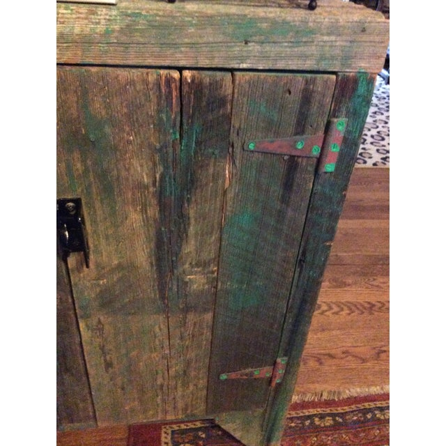 Rustic Primitive Wood Green Hutch For Sale - Image 3 of 13