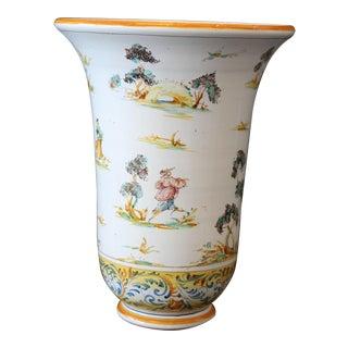 Vintage Ernan Italian Hand Painted Ceramic Vase For Sale