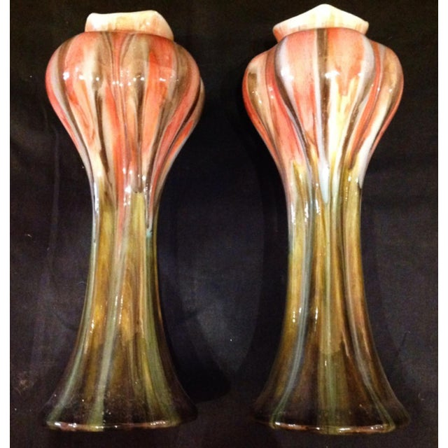 Art Nouveau Belgian Vases - a Pair For Sale - Image 4 of 6