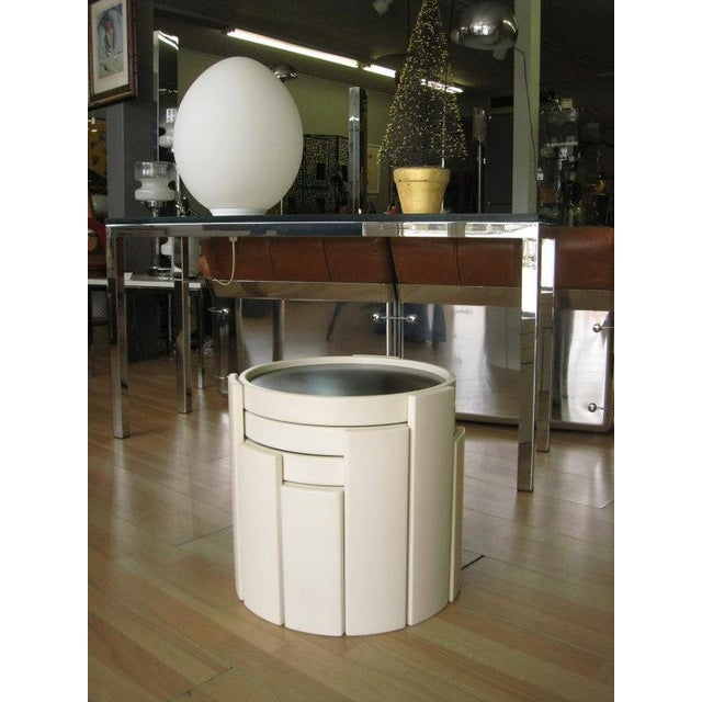 4 Nesting side tables designed by gianfranco frattini for cassina, italy, imported by atelier international. 3 Legged...