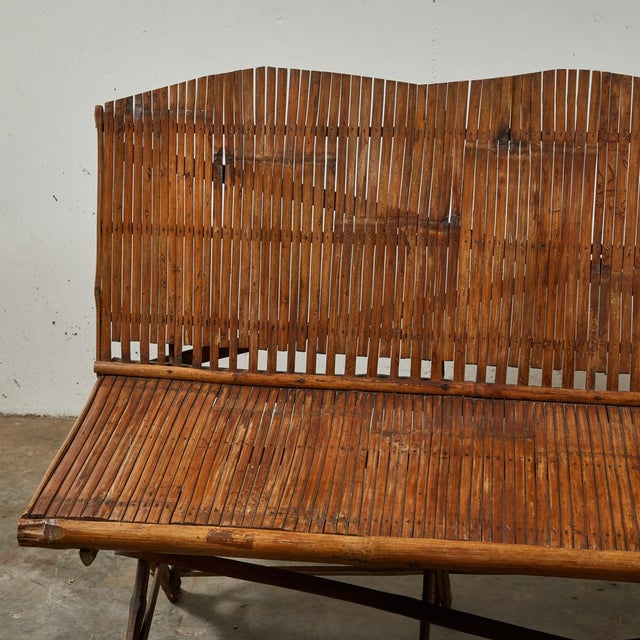 Traditional 1920s English Bamboo Slatted Country Bench For Sale - Image 3 of 7