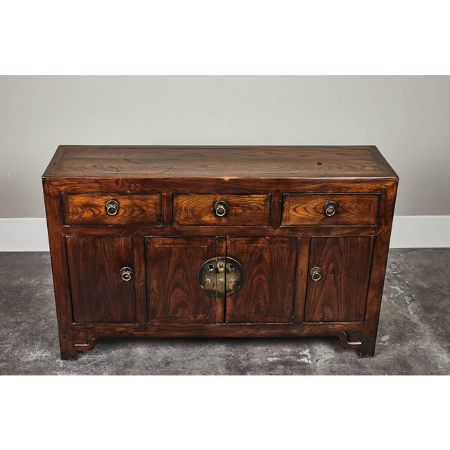 Late 19th Century 19th C. Chinese Three Drawer Elm Sideboard For Sale - Image 5 of 9