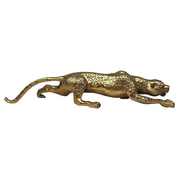 Mid-Century Brass Jaguar Statue - Image 1 of 5