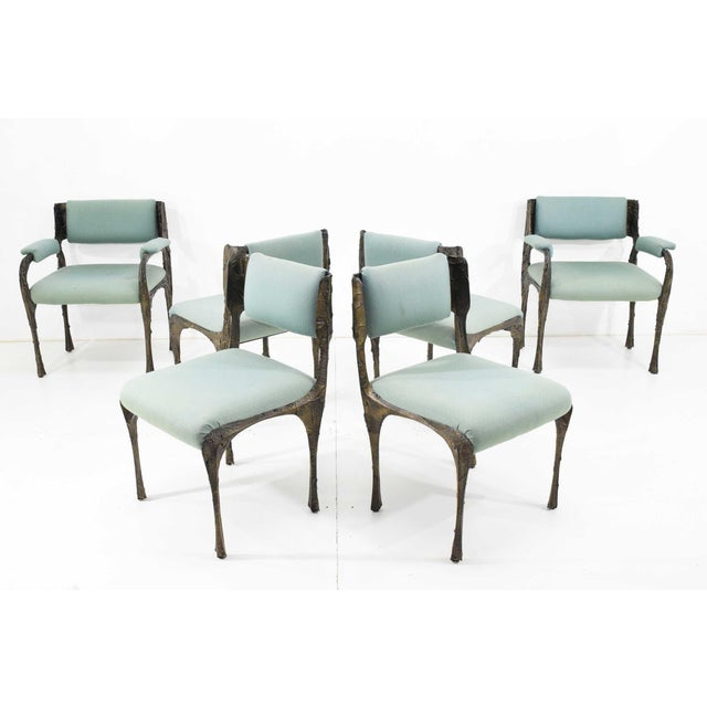 Set of Six Paul Evans Brutalist Sculpted Bronze and Resin Dining Chairs, 1972 - See Updated Listing W. New Upholstery For Sale - Image 11 of 11