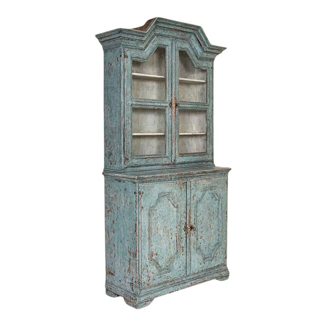 Antique Blue Painted Bookcase Display Cabinet From Sweden For Sale