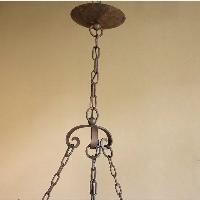 Antique Country French Wrought Iron Chandelier For Sale In Baton Rouge - Image 6 of 11