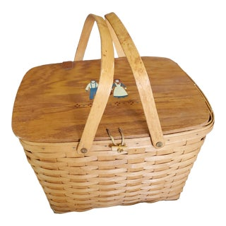 Vintage Brown Longaberger Picnic Basket For Sale