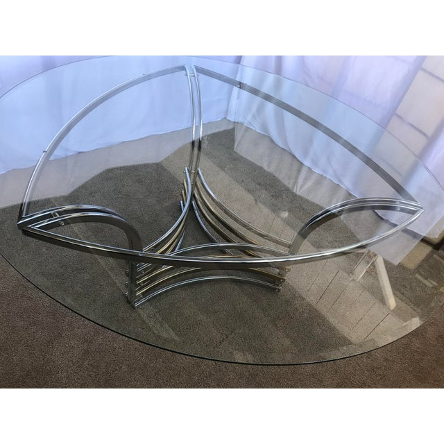 1980s Round Glass & Chrome/Brass Triangular Shape Dining Table For Sale - Image 9 of 13