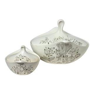 1950s Eva Zeisel for Hallcraft Century Design Covered Bowls in Garden of Eden Pattern - Set of Two For Sale