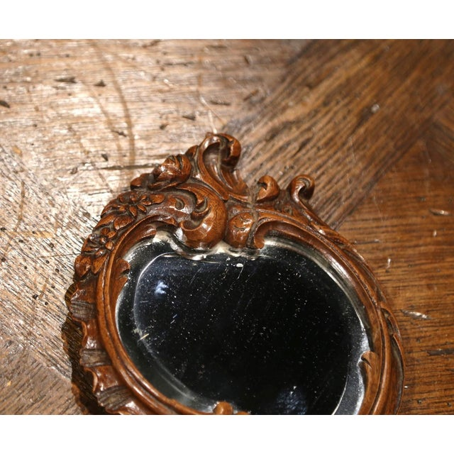 Late 19th Century 19th Century French Black Forest Carved Walnut Hand Mirror With Beveled Glass For Sale - Image 5 of 8