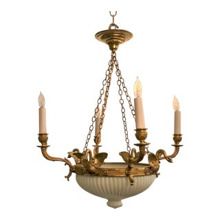 "Antique French Ormolu and ""Milk Glass"" Empire Fixture, Circa 1870-1890. For Sale"