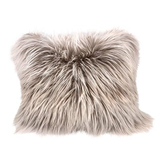 Beige Extra Fluffy Shearling and Wool Pillow by Tasha Tarno For Sale