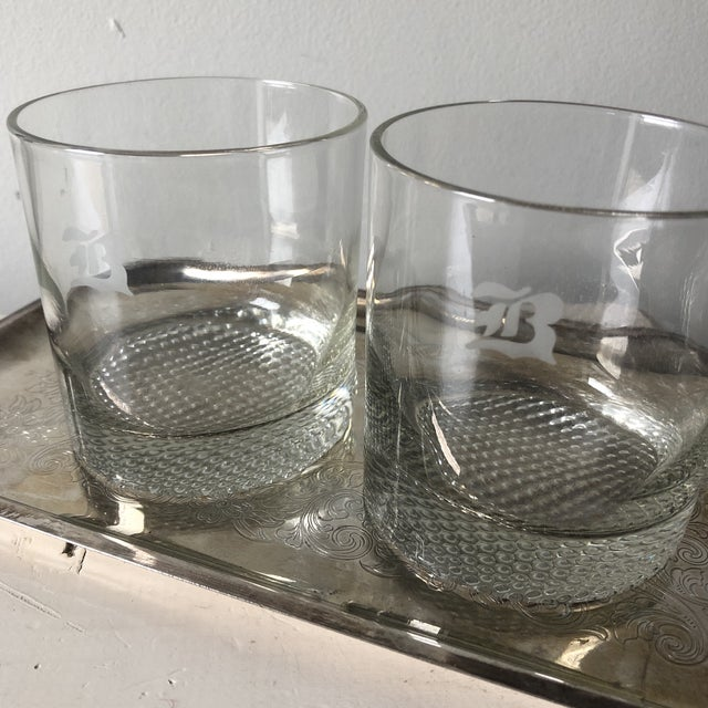 1970s 1970s B Monogrammed Rock Glasses With Silver Tray** - Set of 3 For Sale - Image 5 of 11