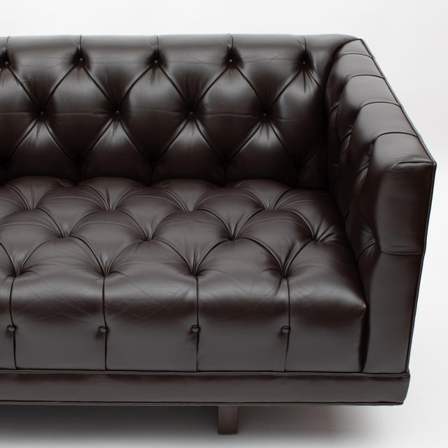 Ward Bennett Button-Tufted Leather Sofa for Lehigh Furniture, Circa 1960s For Sale In New York - Image 6 of 13